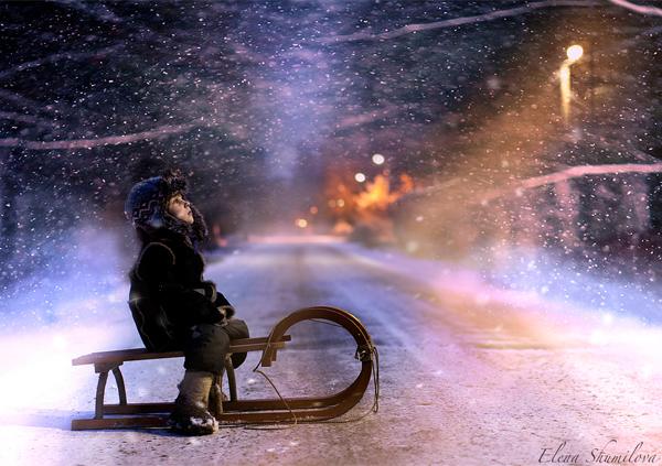 One winter night by Elena Shumilova